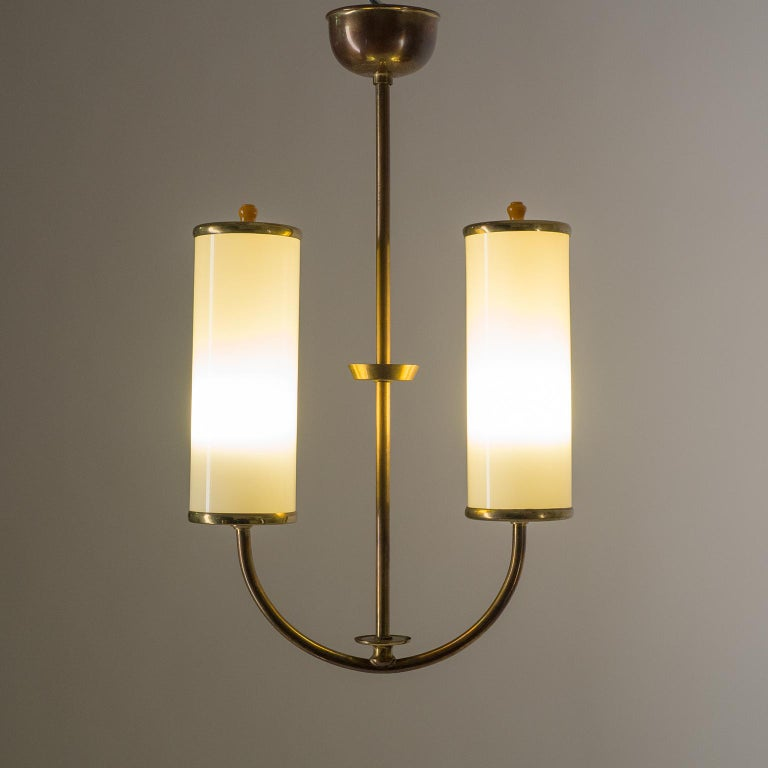 German Art Deco Chandelier, 1930s, Ivory Glass and Brass For Sale