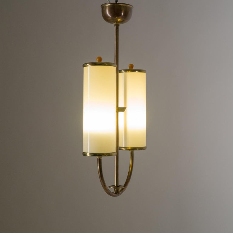 Art Deco Chandelier, 1930s, Ivory Glass and Brass In Good Condition For Sale In Vienna, AT
