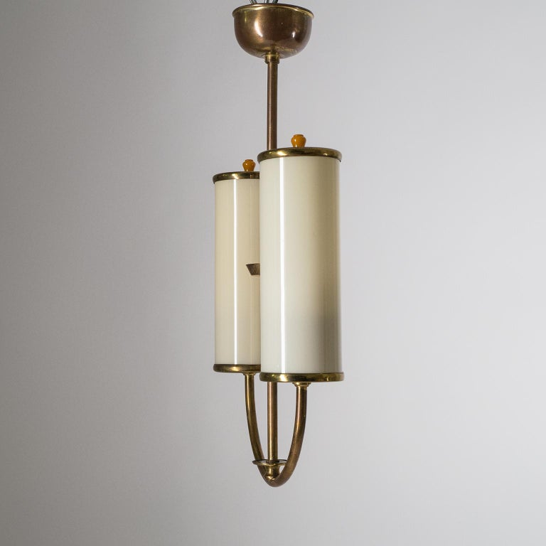 Art Deco Chandelier, 1930s, Ivory Glass and Brass For Sale 1
