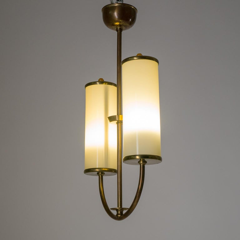 Art Deco Chandelier, 1930s, Ivory Glass and Brass For Sale 2