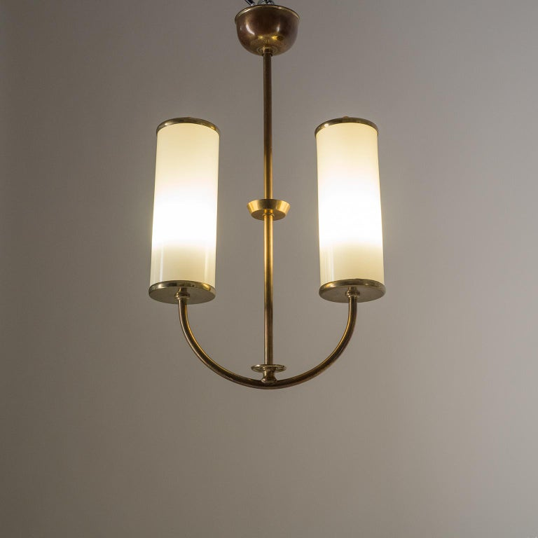 Art Deco Chandelier, 1930s, Ivory Glass and Brass For Sale 3