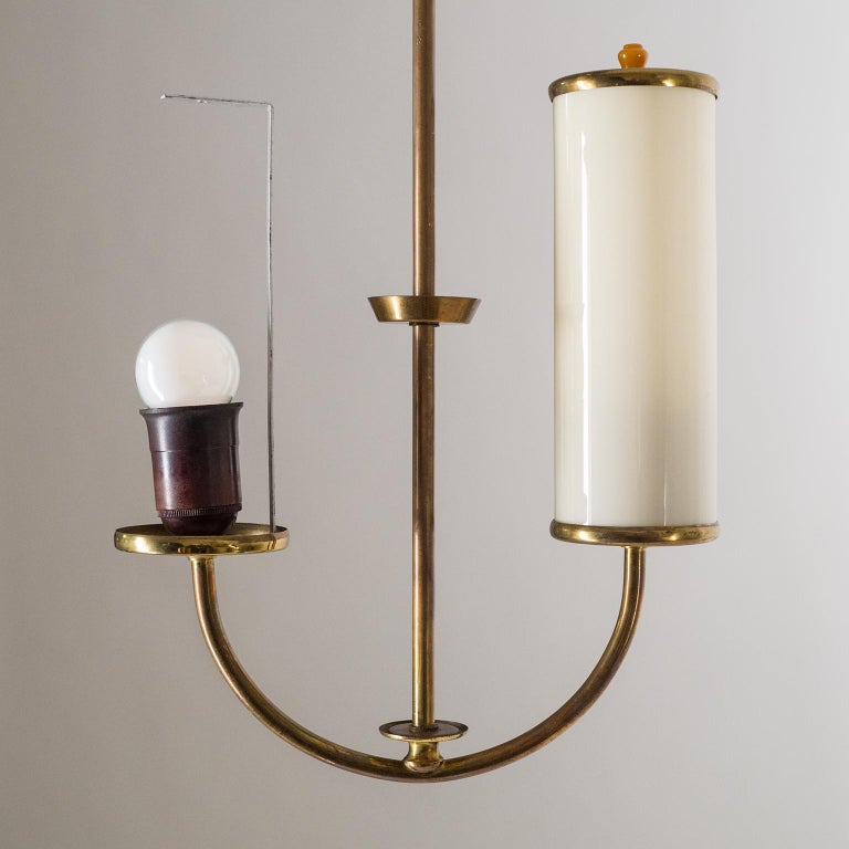 Art Deco Chandelier, 1930s, Ivory Glass and Brass For Sale 4
