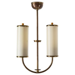 Art Deco Chandelier, 1930s, Ivory Glass and Brass