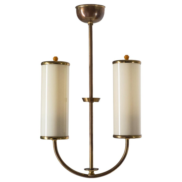Art Deco Chandelier, 1930s, Ivory Glass and Brass For Sale