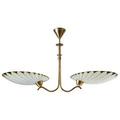 Art Deco Chandelier, 1940s, Enameled Glass and Brass