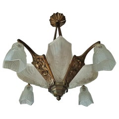 Art Deco Chandelier by Degue, France, 1930