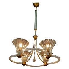 Art Deco Chandelier by Ercole Barovier, Murano, 1940