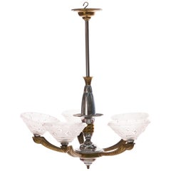 Art Deco Chandelier by Ezan, Silvered Brass