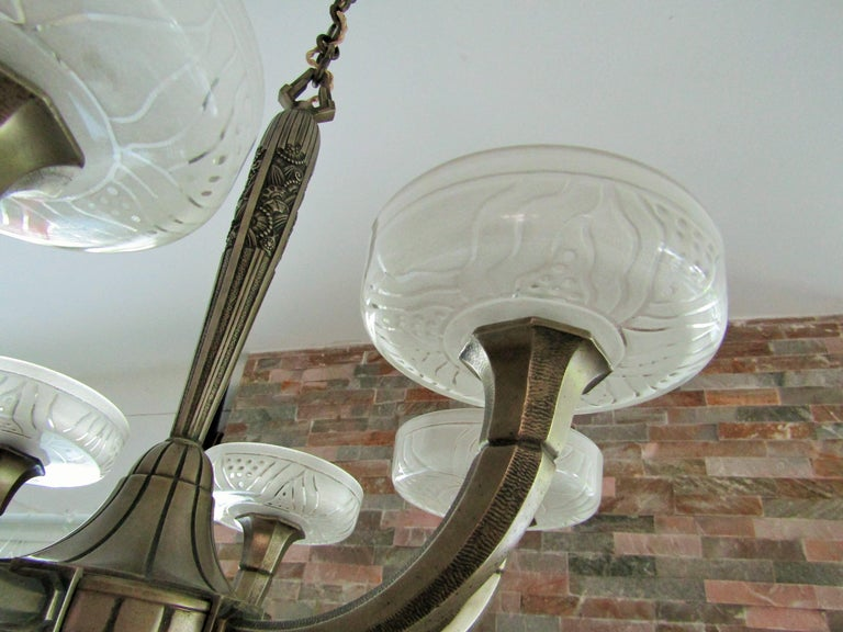 Art Deco Chandelier by Hettier & Vincent 1925 15