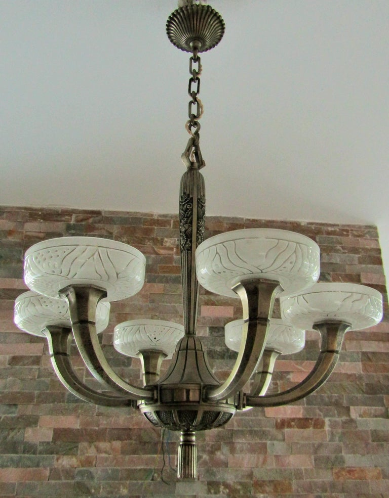 Art Deco Chandelier by Hettier & Vincent 1925 17