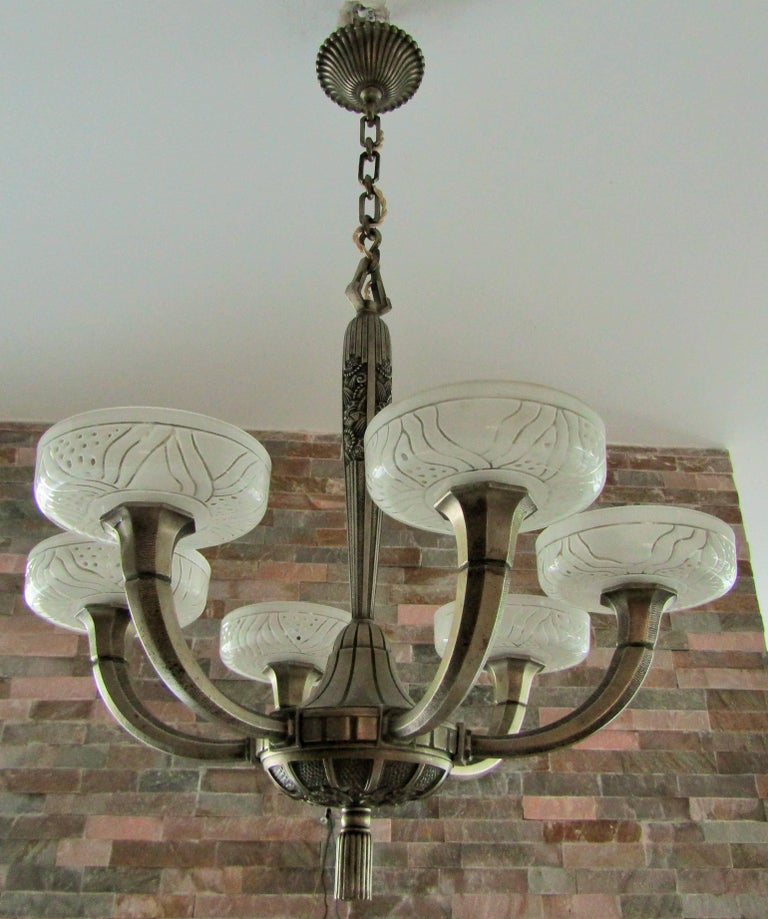 Art Deco Chandelier by Hettier & Vincent 1925 18