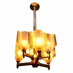 Art Deco Chandelier with Frosted Glass   rrrow Quiver Shades by Pierre D'Avesn