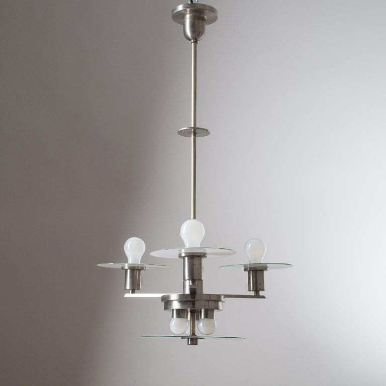 Art Deco Chandelier, circa 1930, Nickel and Glass For Sale 5