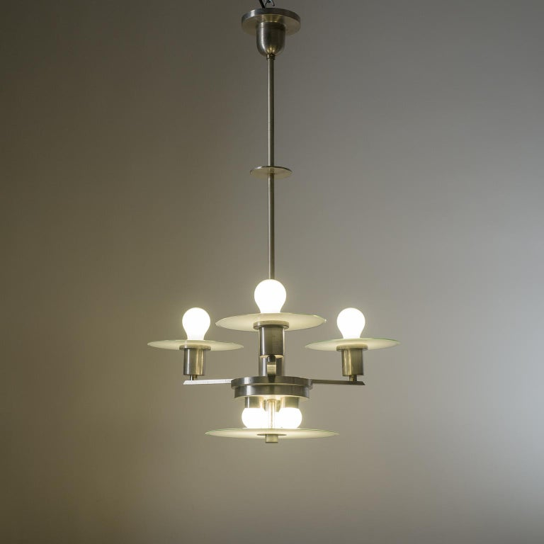 Art Deco Chandelier, circa 1930, Nickel and Glass For Sale 6