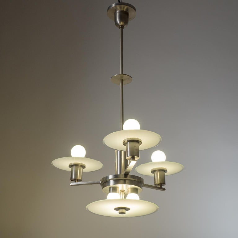 Art Deco Chandelier, circa 1930, Nickel and Glass For Sale 7