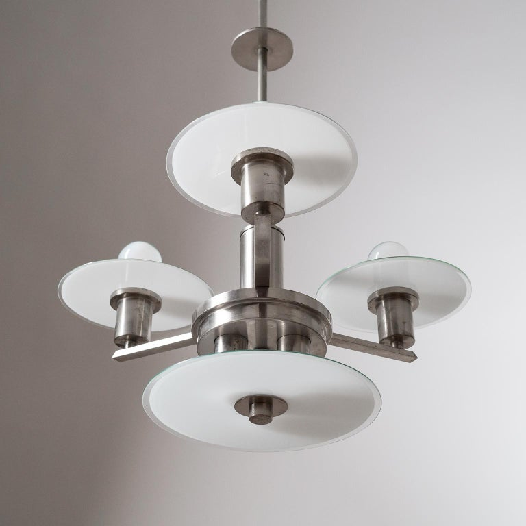 Art Deco Chandelier, circa 1930, Nickel and Glass For Sale 10