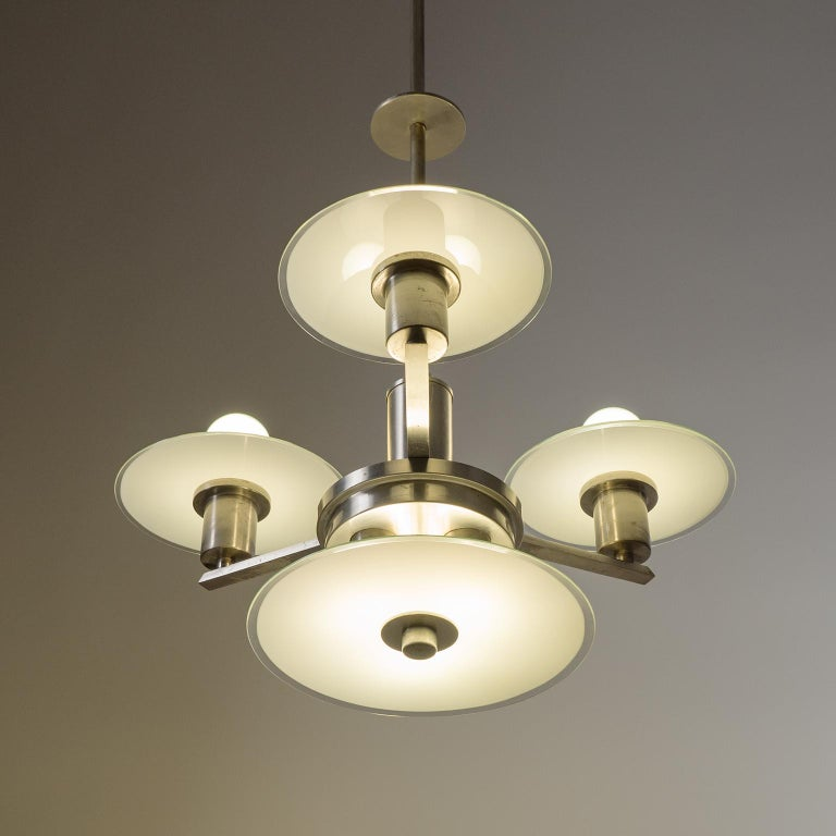 Art Deco Chandelier, circa 1930, Nickel and Glass For Sale 11