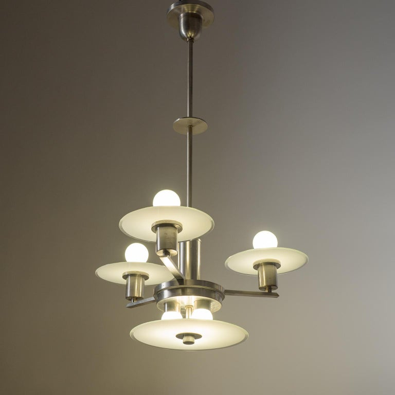 Art Deco Chandelier, circa 1930, Nickel and Glass For Sale 12