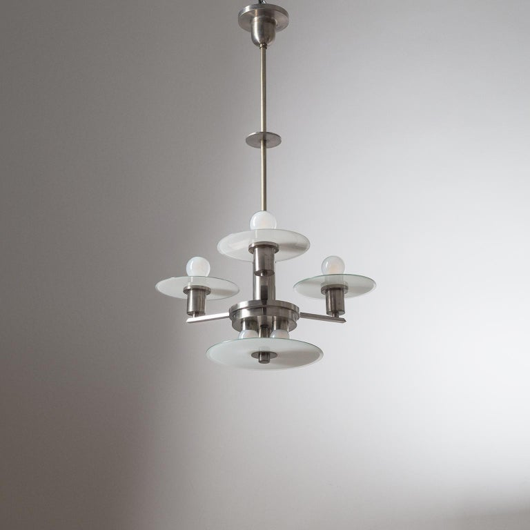 Art Deco Chandelier, circa 1930, Nickel and Glass For Sale 13