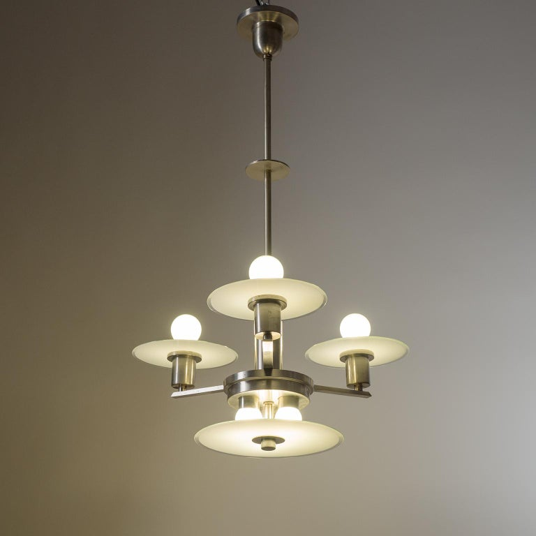 German Art Deco Chandelier, circa 1930, Nickel and Glass For Sale