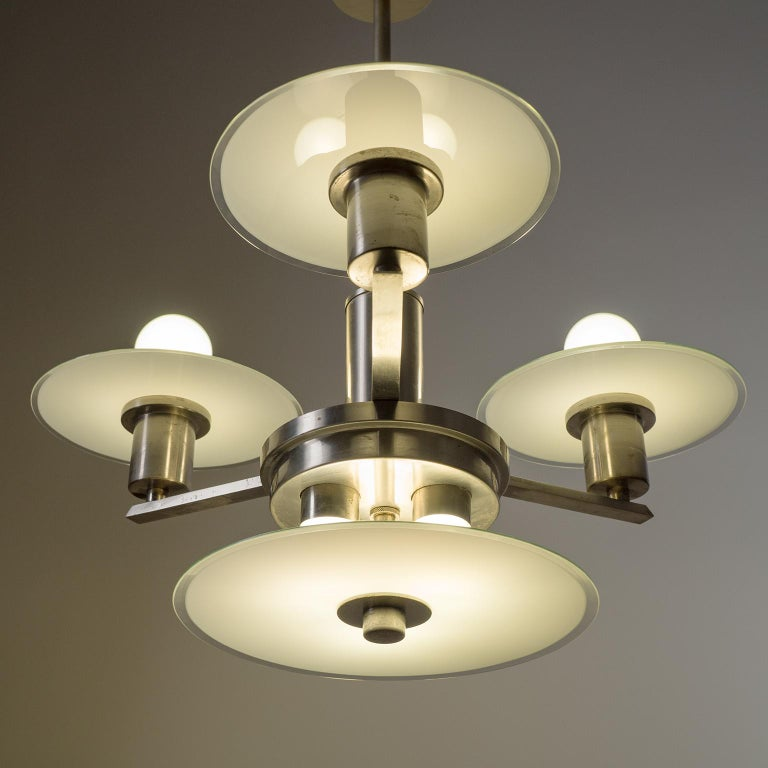 Art Deco Chandelier, circa 1930, Nickel and Glass In Good Condition For Sale In Vienna, AT