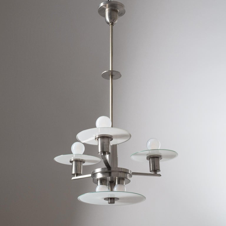Art Deco Chandelier, circa 1930, Nickel and Glass For Sale 1