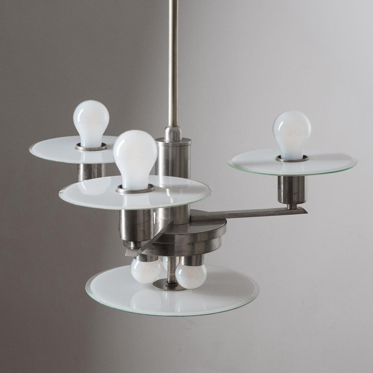 Art Deco Chandelier, circa 1930, Nickel and Glass For Sale 2