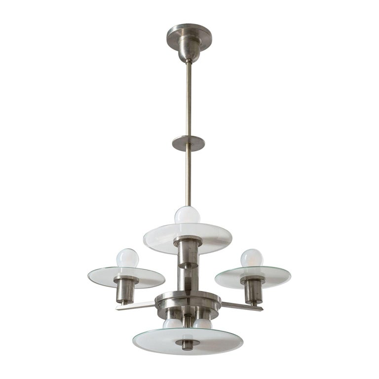Art Deco Chandelier, circa 1930, Nickel and Glass For Sale