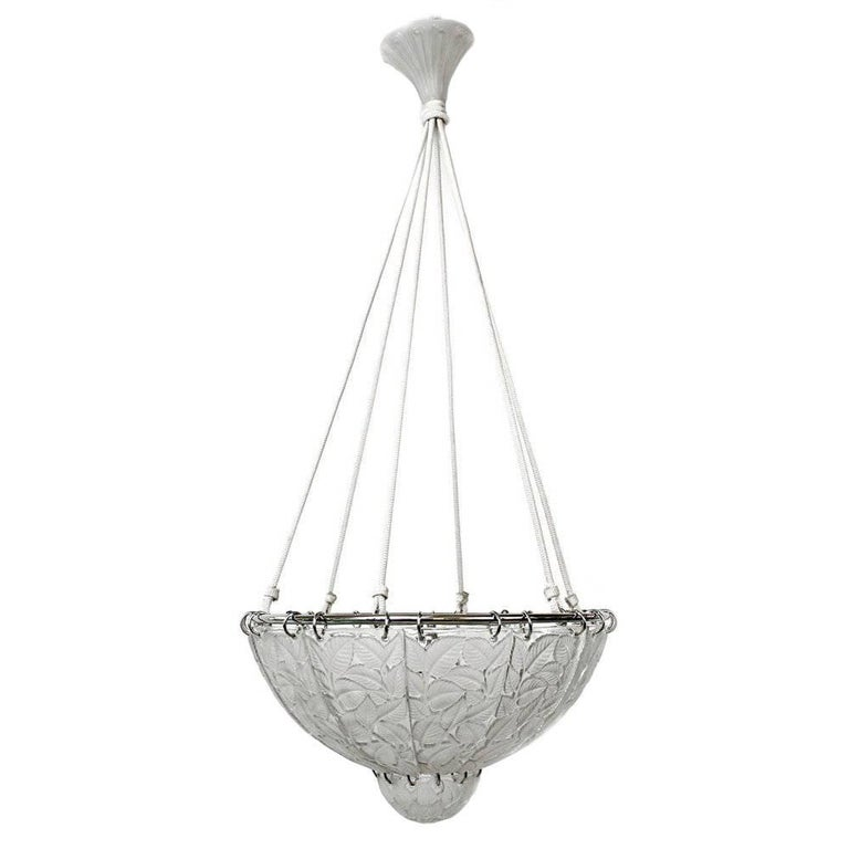Art Deco Chandelier Feuilles de Charme by Rene Lalique For Sale
