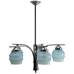 Art Deco Chandelier Five Arms Chrome, in the Style of Kalmar