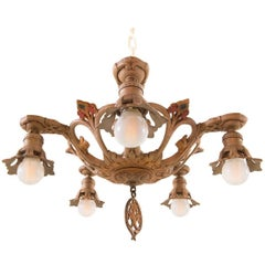 Original Petite New York Art Deco Chandelier - Painted metal