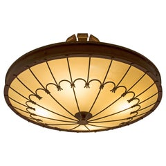 Art Deco Chandelier in Brass and Glass