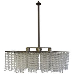 Art Deco Chandelier, Made of Three Fringes of Pearls and Metal, circa 1930