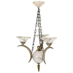 Art Deco Chandelier Silvered Bronze and Alabaster Attributed to Simonet Freres
