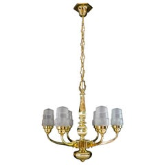 Art Deco Chandelier Vienna 1920s with Original Glass Shades