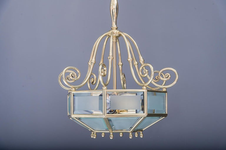 Lacquered Art Deco chandelier, Vienna, circa 1920s For Sale