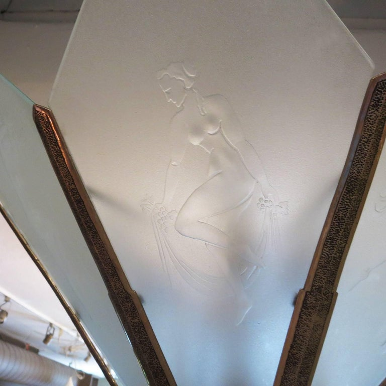 American Art Deco Chandelier with Etched Dancing Women Panels For Sale