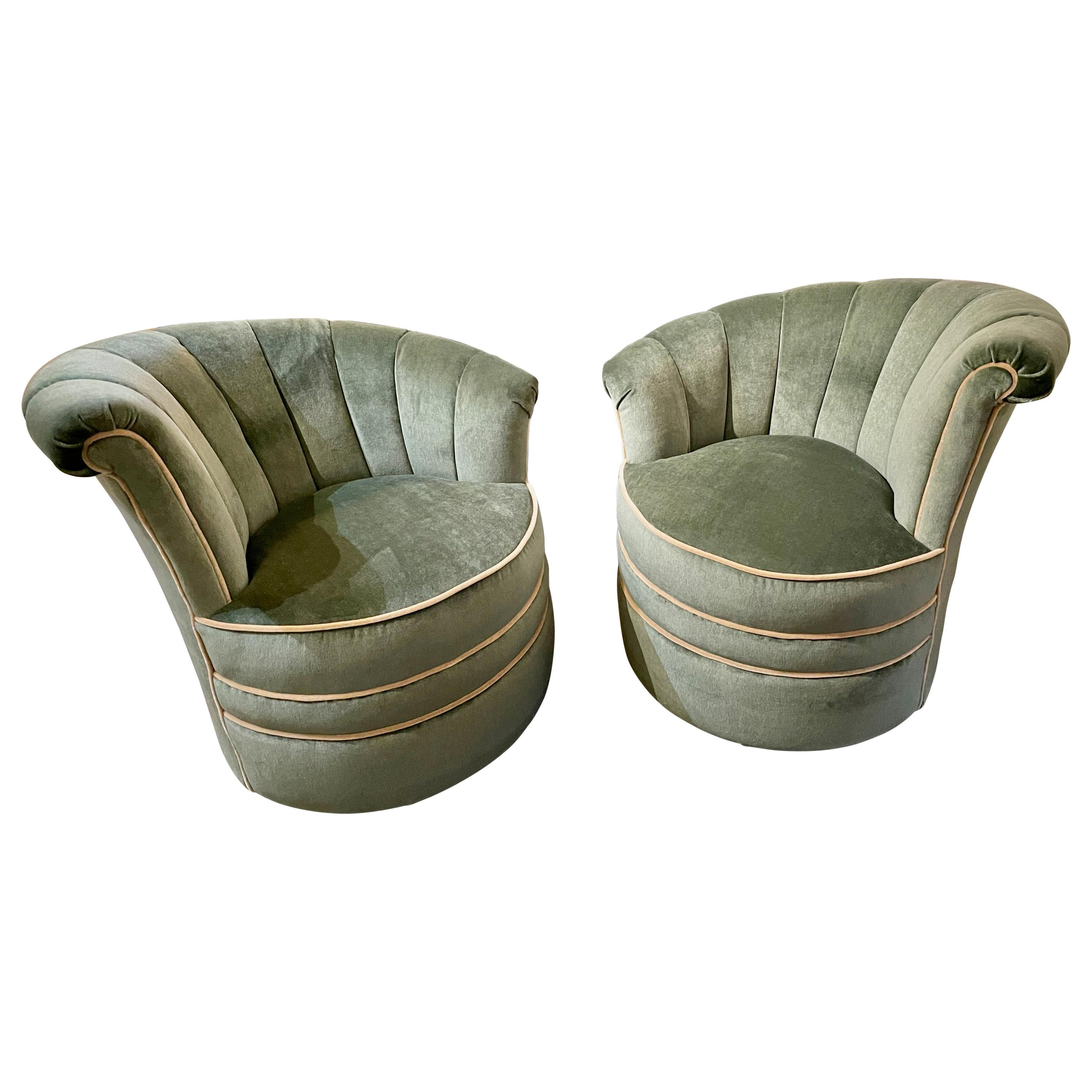 Art Deco Channel Back Swivel Mohair Chairs