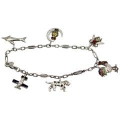 Art Deco Charm Bracelet 6 Charms 18 Karat