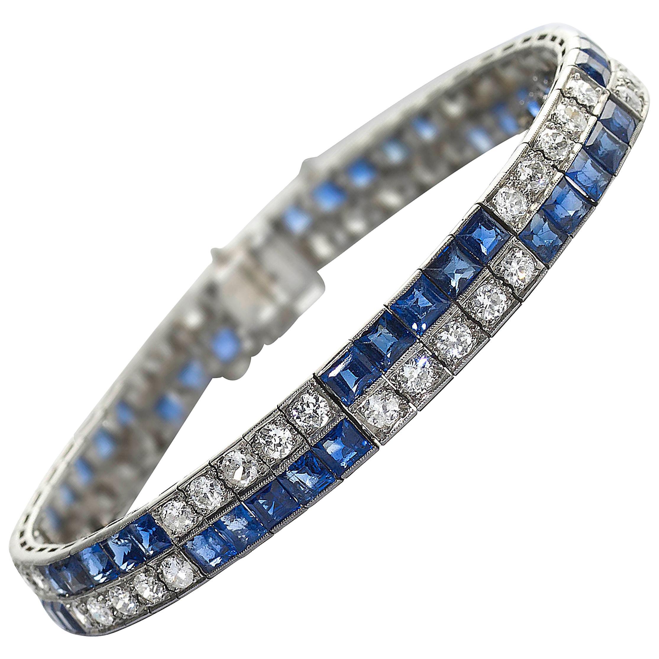 Art Deco Chaumet Sapphire Diamond and Platinum Bracelet, circa 1925