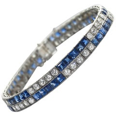 Art Deco Chaumet Sapphire Diamond and Platinum Bracelet, circa 1925