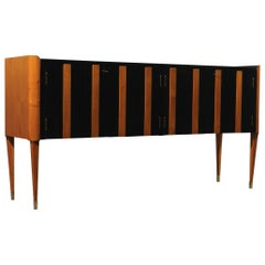 Art Deco Cherrywood and Black Lacquer Italian Sideboard, 1940