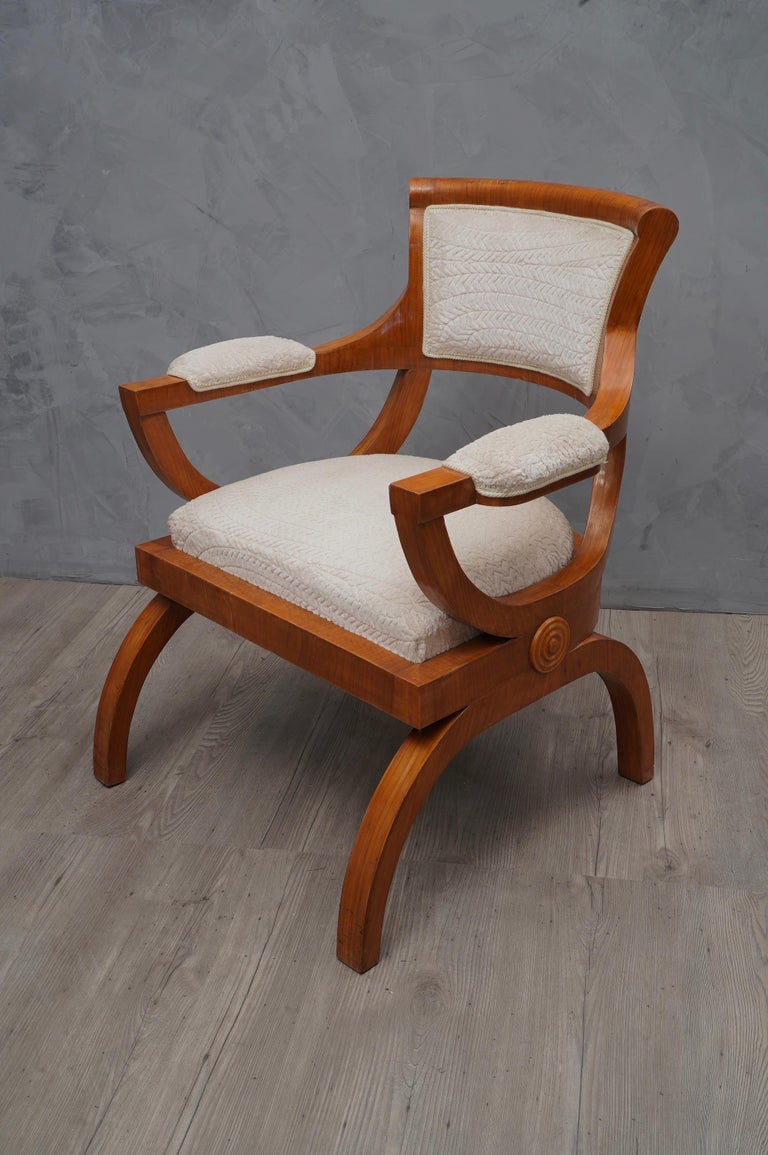 Art Deco Cherrywood and White Velvet Italian Armchair ...