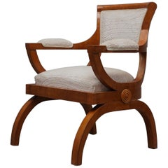 Art Deco Cherrywood and White Velvet Italian Armchair, 1930