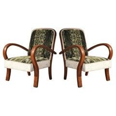 Art Deco Cherrywood Green and White Velvet Italian Armchairs, 1940