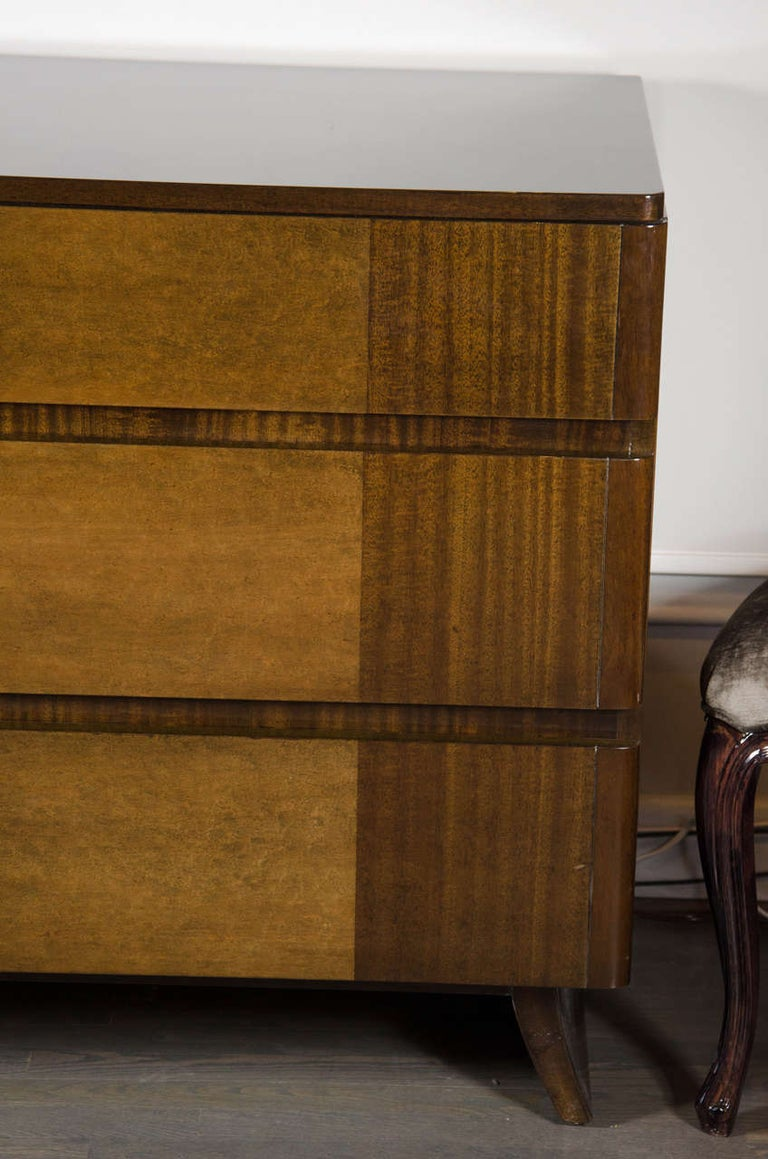 American Art Deco Chest in Bookmatched Exotic Elm and Walnut by Eliel Saarinen For Sale