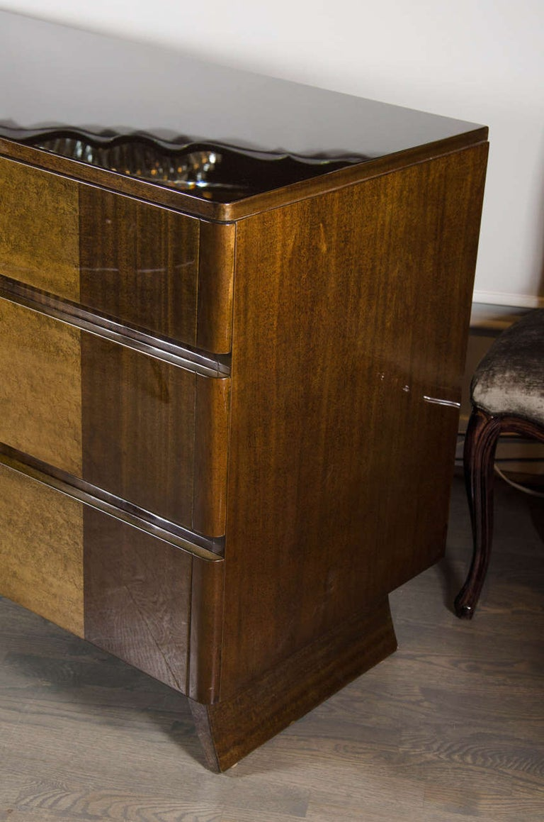 Art Deco Chest in Bookmatched Exotic Elm and Walnut by Eliel Saarinen For Sale 1