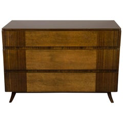 Art Deco Chest in Bookmatched Exotic Elm and Walnut by Eliel Saarinen