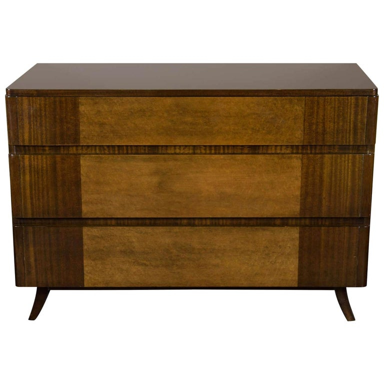 Art Deco Chest in Bookmatched Exotic Elm and Walnut by Eliel Saarinen For Sale