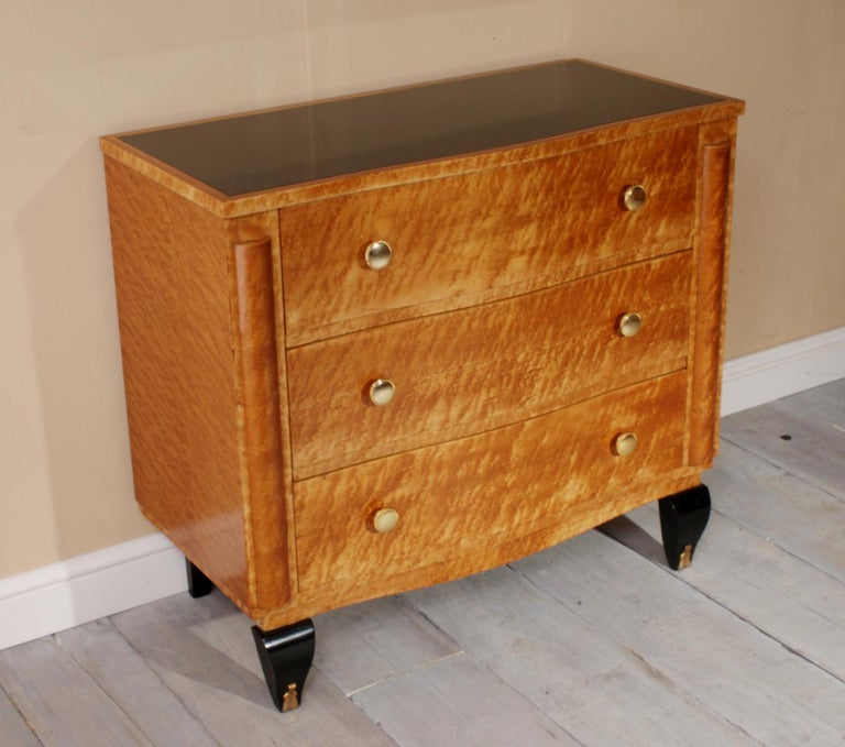 Art Deco Chest of Drawers in Bird's-Eye Maple For Sale 4